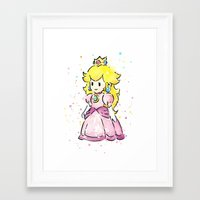 princess peach Framed Art Prints featuring Princess Peach by Olechka