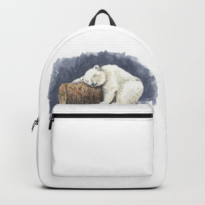 Sleeping polar bear, watercolor art Backpack