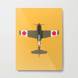 Ki-84 Hayate WWII Aircraft - Olive Metal Print