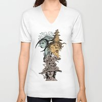 hats V-neck T-shirts featuring Monster Hats  by Quirkyjoe