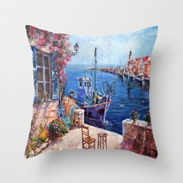 Morning at the Wharf Throw Pillow