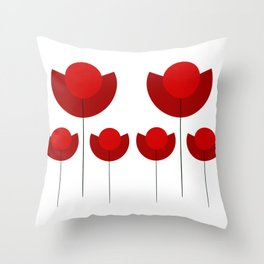 Simple red Tulips Throw Pillow