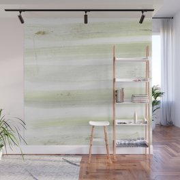 Modern mint green white watercolor brushstrokes stripes Wall Mural