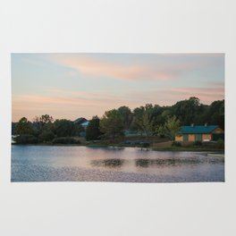 Peaceful Cabin on the Lake During Sunrise Rug