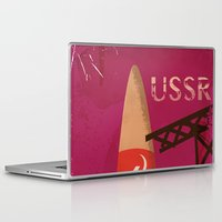 soviet Laptop & iPad Skins featuring USSR Soviet Space Rocket Vintage Travel Poster by Nick's Emporium