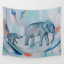 Mother and Baby Elephant Wall Tapestry