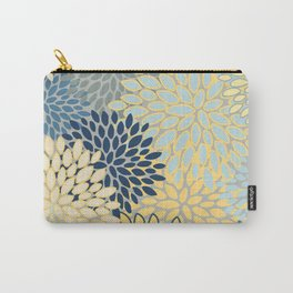 Floral Print, Yellow, Gray, Blue, Teal Carry-All Pouch