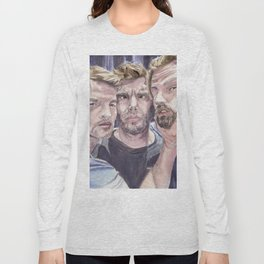 Team Free Will 2.: Misha Collins; Jared Padalecki and Jensen Ackles, watercolor painting Long Sleeve T-shirt