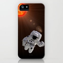 Astronaut And Sun iPhone Case