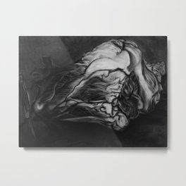 My Heart in Black and White Metal Print