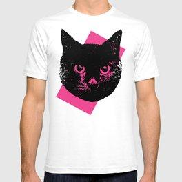 Black Cat, Color Block Pink T-shirt