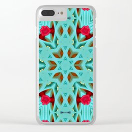 Aqua Art Dec Kaleidoscope Clear iPhone Case