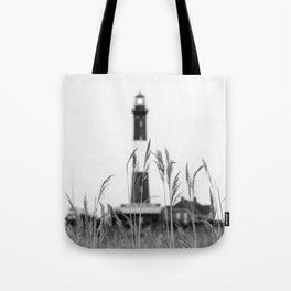 Fire Island Lighthouse Black And White Tote Bag