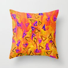 ANALOG zine - TECHNO VIBE 2 Collaboration Piece, Bold Colorful Abstract Watercolor Painting Music Throw Pillow