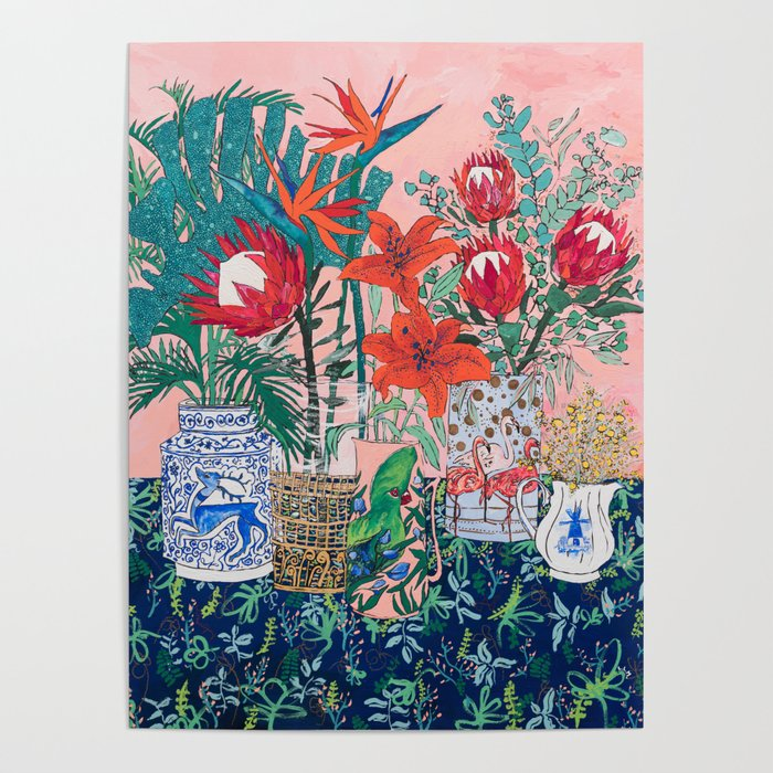 The Domesticated Jungle - Floral Still Life Poster