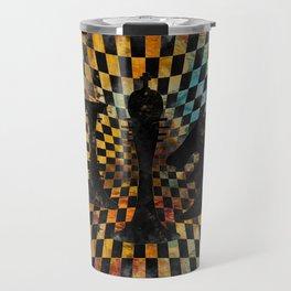 Chessboard Collage - Black figures Travel Mug
