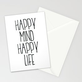 Happy Mind Happy Life, Motivational Quote, Be Happy Poster, Home Decor Stationery Cards