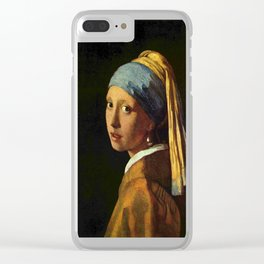 Girl with a Pearl Earring old painting Clear iPhone Case