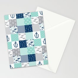 Nautical anchors sharks whales quilt cheater quilt nursery pattern art Stationery Cards