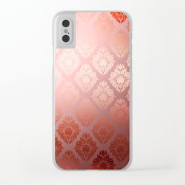 """""""Millennial Pink Damask Pattern"""" Clear iPhone Case"""