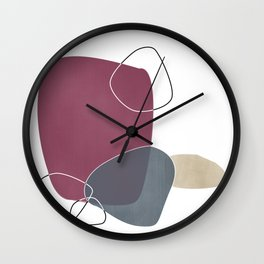 Abstract Glimpses in Mulberry and Peninsula Blue Wall Clock