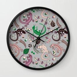 Pink lizards Wall Clock
