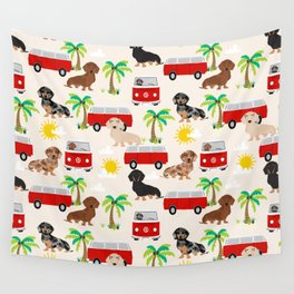 Dachshund Beach day palm tree summer dog cute dog pillow dog blanket beach towel Wall Tapestry