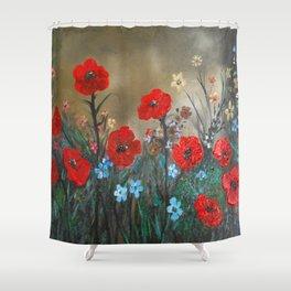Impasto Red Poppy Love Garden Shower Curtain