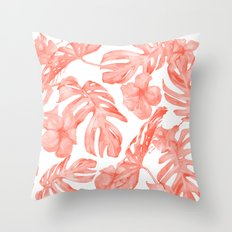 Tropical Hibiscus and Palm Leaves Dark Coral White Throw Pillow