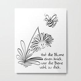 Blume und Biene Metal Print