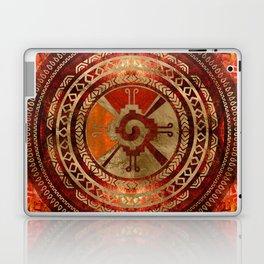 Hunab Ku Mayan symbol Burnt Orange and Gold Laptop & iPad Skin