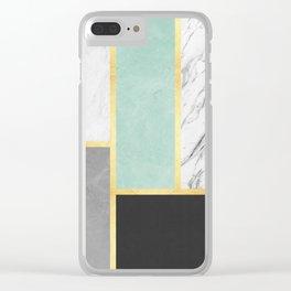 Golden polygon XVI Clear iPhone Case