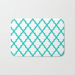 Aqua Moroccan Quatrefoil Pattern Bath Mat