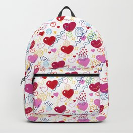 Hearts and doodles colorful Abstract modern trendy pattern  Backpack