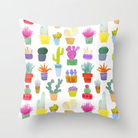 succulents Throw Pillows featuring Succulents by Annelijacobson