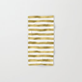 Simply luxury Gold stripes on clear white - horizontal pattern Hand & Bath Towel