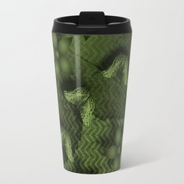 Camouflaged butterflies and flowers in green Travel Mug