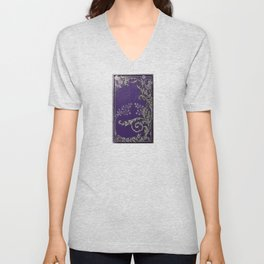 Blue and Silver Thistles Unisex V-Neck
