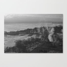 Gray Sky, Icy Lake (Chicago Winter Collection) Canvas Print