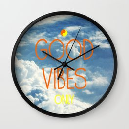 Good Vibes Only, with sky Wall Clock