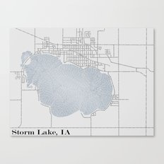 Storm Lake IA Typographical Map Canvas Print