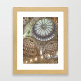 Blue Mosque, Istanbul - ceiling with hanging chandelier Framed Art Print