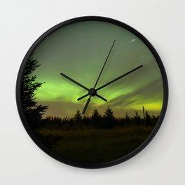 Aurora Borealis with Iridium Flare Wall Clock