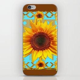 Western Sunflowers Turquoise-Coffee Brown Art iPhone Skin
