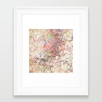 austin Framed Art Prints featuring Austin by MapMapMaps.Watercolors