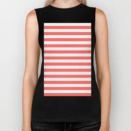 Narrow Horizontal Stripes - White and Pastel Red Biker Tank