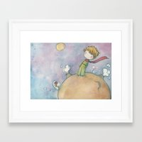 le petit prince Framed Art Prints featuring Le Petit Prince by malipi