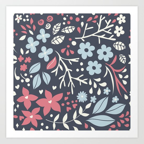 Floral pattern with doodles of flowers and leaves Art Print