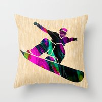 snowboard Throw Pillows featuring Snowboard by marvinblaine