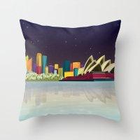 sydney Throw Pillows featuring Sydney by Felita Go